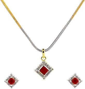 Marvelous! Be You Marvelous Color Ruby & Cubic Zirconia Designer Look Rhodium Plated Brass Earring & Pendant Set with Chain for Women