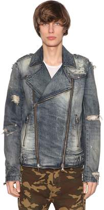 Balmain Destroyed Biker Denim Blouson Jacket