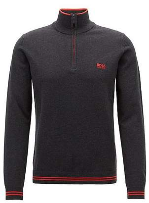 HUGO BOSS Zip-neck sweater in a knitted cotton blend