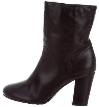 Chanel Shearling-Lined Leather Ankle Boots