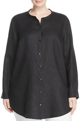 Eileen Fisher Plus Mandarin Collar Linen Shirt $238 thestylecure.com
