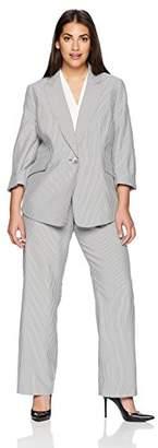 Le Suit Women's Size Plus Pinstripe 1 BTN Notch Collar Pant