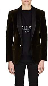 Balmain Men's Satin-Lapel Velvet One-Button Sportcoat - Olive