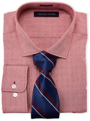 Tommy Hilfiger Red Speckled Regular Fit Dress Shirt & Stripe Tie Box Set