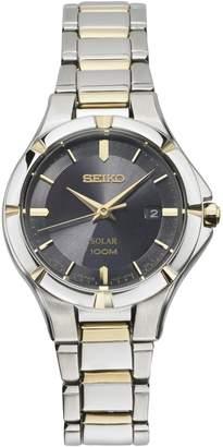 Seiko Women's Two-Tone Stainless Black Dial Solar Watch