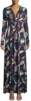 Rachel Pally Long-Sleeve Feather-Print Long Caftan Dress, Plus Size