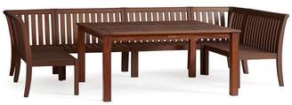 Pottery Barn Chatham Square Table & Banquette Dining Set, Honey