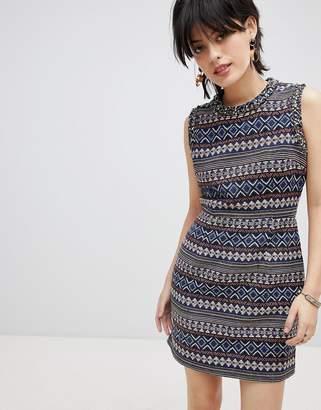Deby Debo Iliana Print Dress with Embellished Neck Trim