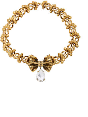 Rodarte Antique Gold Bow And Floral Chain Necklace