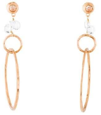 18K White Topaz Drop Earrings