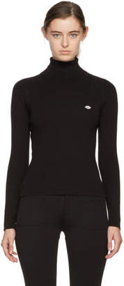 See by Chloe Black Logo Embroidered Turtleneck