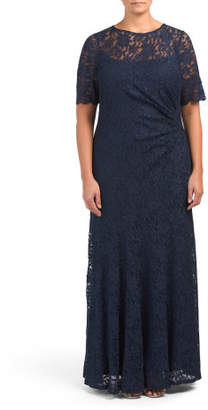 Plus Short Sleeve Glitter Lace Gown