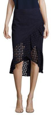 Trina Turk Nikita Cotton Eyelet Hi-Lo Skirt $268 thestylecure.com