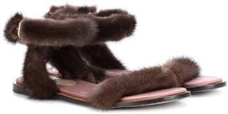 Valentino mink fur sandals