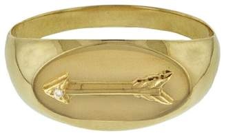 Foundrae Baby Signet Arrow Ring - Yellow Gold