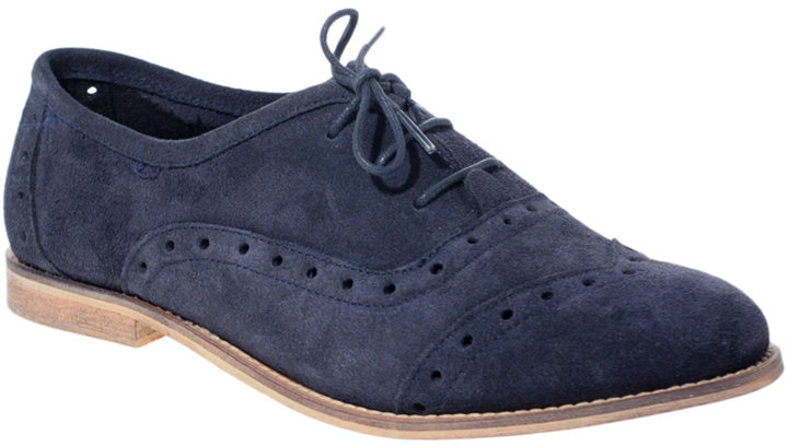 ASOS MALCOLM Suede Punch Out Flat Lace Up Shoe