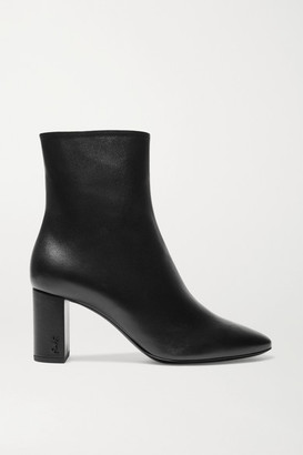 Saint Laurent Lou Leather Ankle Boots - Black