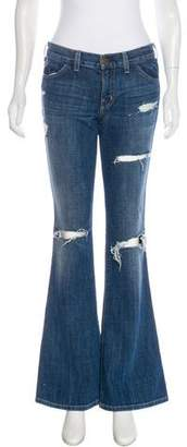 Current/Elliott Distressed Mid-Rise Wide-Leg Jeans