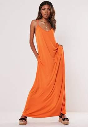 Missguided Orange Jersey Pocket Maxi Dress