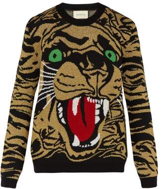 Gucci Bengal Tiger Intarsia Wool Blend Sweater - Mens - Multi