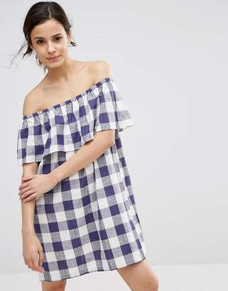 ASOS Gingham Off Shoulder Sundress $43 thestylecure.com