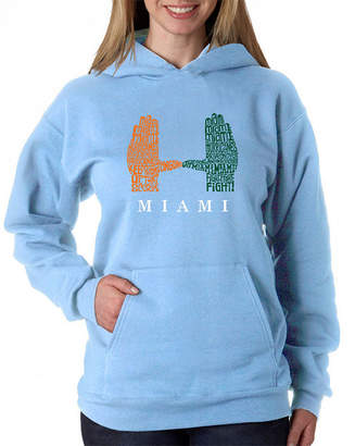 LOS ANGELES POP ART Los Angeles Pop Art Women's Word Art Hooded Sweatshirt -Miami Hurricanes Hand Symbol