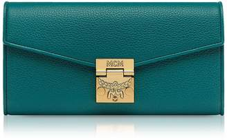 MCM Hopper Green Grained Leather Large Patricia Crossbody Wallet