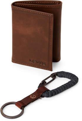 Levi's Two-Piece Brown Tri-fold Wallet & Key Fob Set