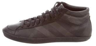 Burberry Round-Toe Mid-Top Sneakers