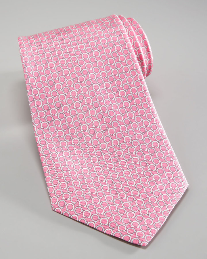 Salvatore Ferragamo Asymmetric Gancini Tie, Pink