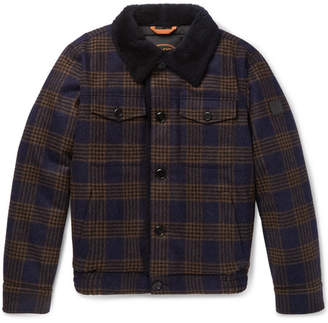 Tod's Shearling-Lined Checked Wool Bomber Jacket