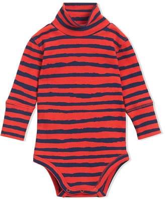 Burberry Roll-neck Striped Cotton Bodysuit