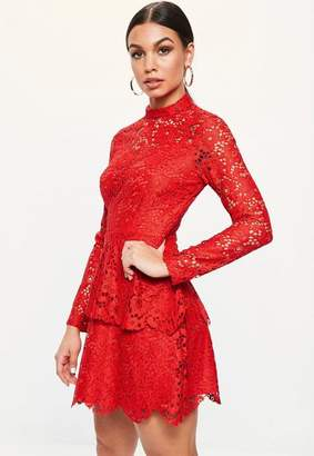 Missguided Red Lace High Neck Frill Layered Mini Dress