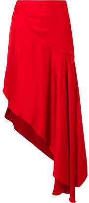 Monse Asymmetric Satin Midi Skirt - Red