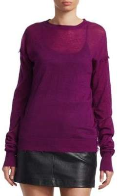 Helmut Lang Frayed Cashmere Pullover Sweater