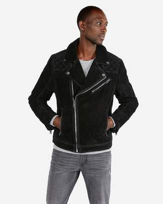 Express Genuine Suede Asymmetrical Moto Jacket
