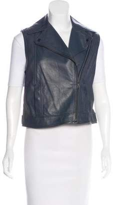 Vince Leather Moto Vest