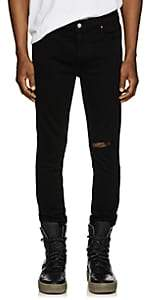 RtA Men's Leather-Back Skinny Jeans-Black