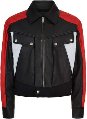 Givenchy Colour Block Leather Bomber Jacket