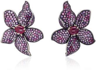 Gioia Fleur Ruby Amethyst And Diamond Ear Clips