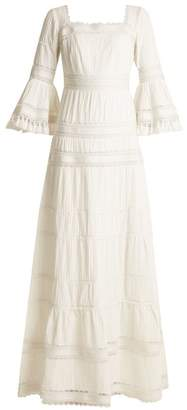 Talitha - Fluted Sleeve Pleated Cotton Maxi Dress - Womens - Ivory