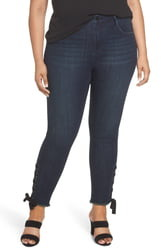 Seven7 High Rise Lace-Up Side Hem Skinny Jeans
