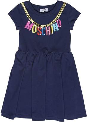 Moschino Logo Chain Printed Cotton Jersey Dress