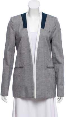 Yigal Azrouel Leather-Trim Houndstooth Blazer