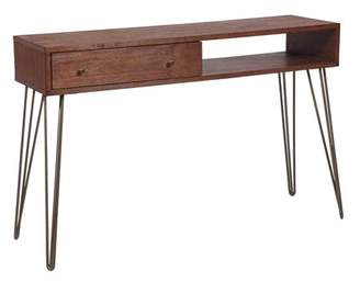 Mid-Century MODERN HomeFare Walnut Brushed Acacia One Drawer Accent Storage Console Table