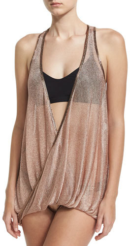Luxe by Lisa Vogel Chain Reaction Mesh Tankini and Racerback Swim Top, Black