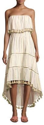 Saylor Rowan Metallic Stripe Strapless Midi Dress