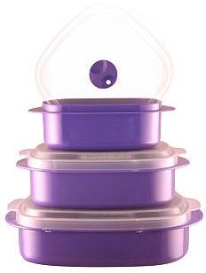 Asst of 3 Microwave Cookware Set, Purple