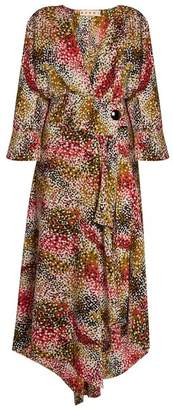 Marni Mist Print Silk Crepe Wrap Dress - Womens - Red Print