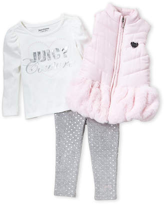 Juicy Couture Toddler Girls) 3-Piece Faux Fur Trim Puffer Vest and Pants Set